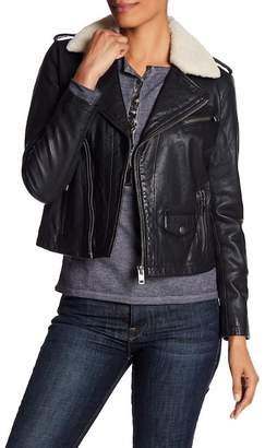 Lucky Brand Fleece Collar Moto Lamb Leather Jacket