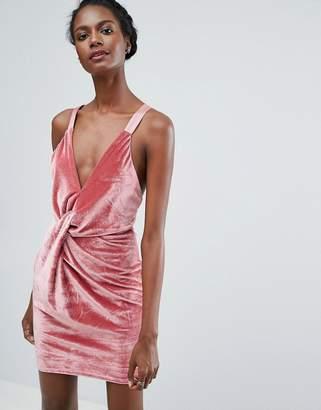 Endless Rose Twist Front Velvet Mini Dress
