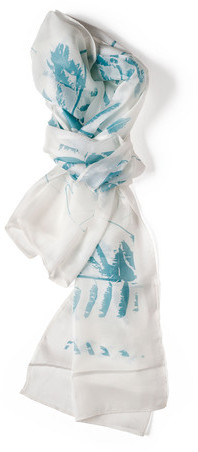 Lee Coren Tropical Silk Scarf Dusk Blue