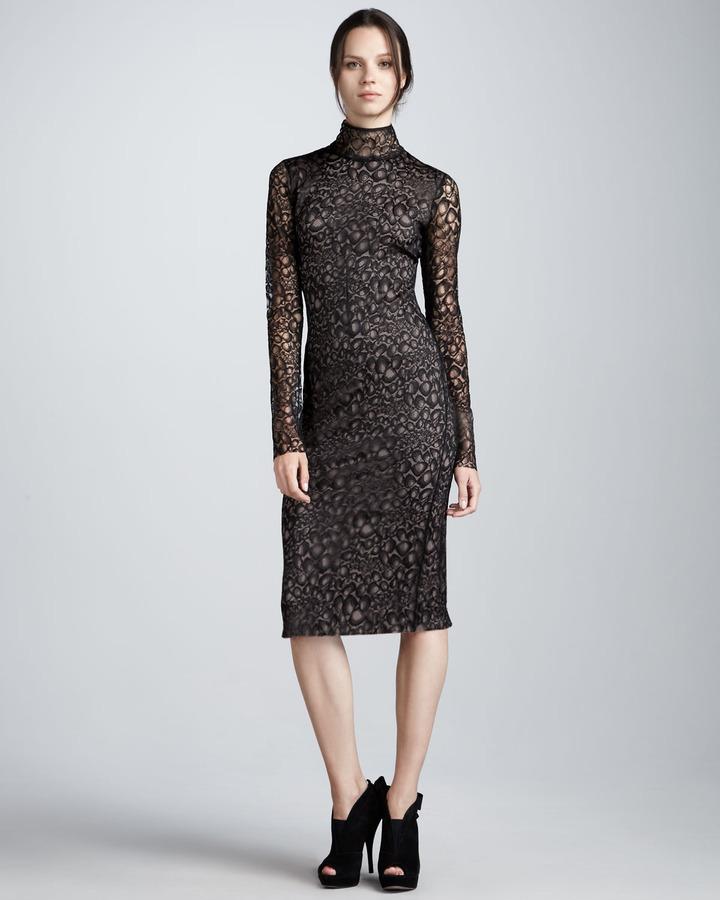 Diane von Furstenberg Lydia Long-Sleeve Lace-Overlay Dress