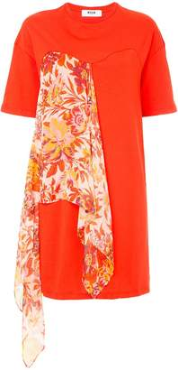 MSGM T-shirt dress with floral scarf detail