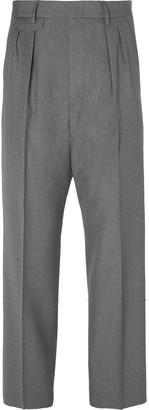 Gucci Wide-Leg Pleated Wool Trousers - Men - Gray