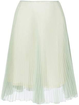 Prada Green Silk Pleated Skirt