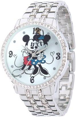 Disney Minnie & Mickey Women's Alloy Case Watch, Silver CZ Bracelet