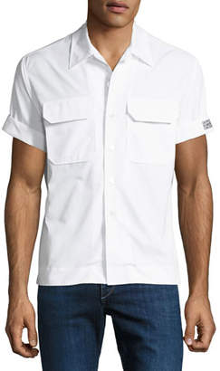 Calvin Klein Men's Button-Front Short-Sleeve Cotton Pocket Shirt