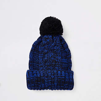 River Island Navy cable knit bobble beanie hat