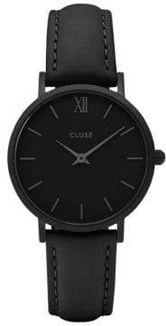 Cluse Minuit CL30008 Black Leather Analog Watch
