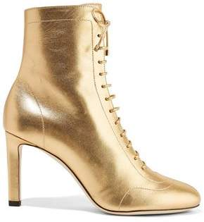 Jimmy Choo Daize 85 Lace-Up Metallic Leather Ankle Boots