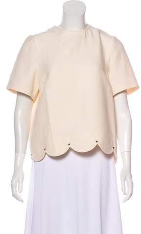 Valentino Wool & Silk Short Sleeve Top