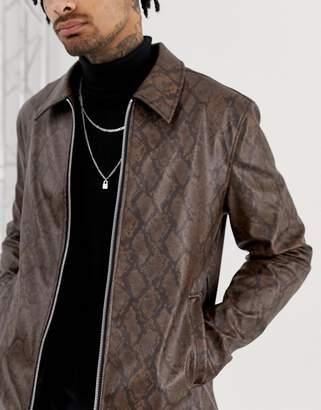 Asos Design DESIGN zip through jacket in snakeskin