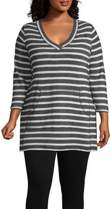 Liz Claiborne Weekend Kangaroo Pocket Tunic - Plus