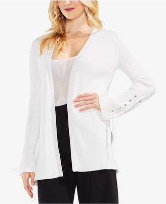 Vince Camuto Ribbed Lace-Up Cotton Cardigan