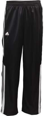 adidas Mens 3 Stripe Warm Up Popper Basketball Track Pants Black/White