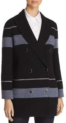 Emporio Armani Striped Double Breasted Wool & Cashmere Peacoat
