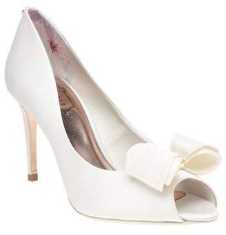 Ted Baker New Womens White Alifair Satin Shoes High Heels Slip On