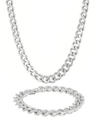 JCPenney FINE JEWELRY Mens Stainless Steel 12mm Chunky Curb Chain & Bracelet Boxed Set