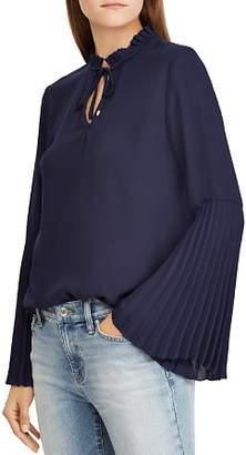 Ralph Lauren Pleated Bell-Sleeve Top