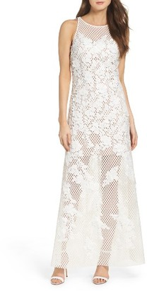 Women's Vera Wang Embellished Geo Lace Gown $378 thestylecure.com