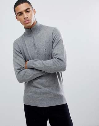 Tommy Hilfiger lambs wool knit half zip sweater flag logo in gray marl