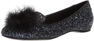 Kenneth Cole Reaction Women's Gen-ie Bottle Glitter Ballet Flat with Feather Pom