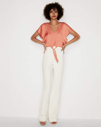 Express Satin Tie Front Cropped Top