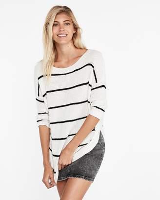 Express Striped Thermal Stitch Circle Hem Tunic Sweater