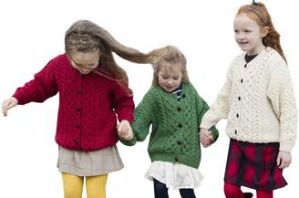 Carraigdonn Carraig Donn Child's Irish Aran Wool Lumber Cardigan Sweater (XLarge, )