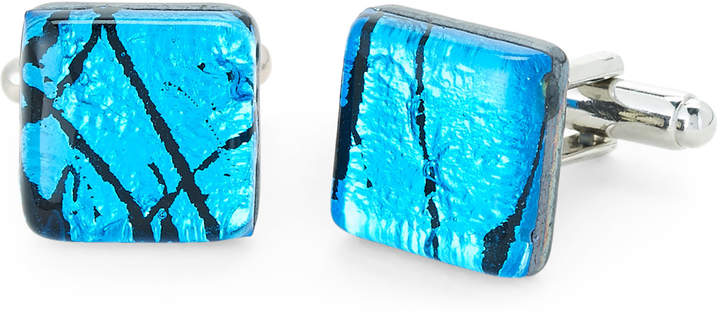 Duchamp Blue & Black Glass Cuff Links