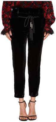 The Kooples Flowing Velvet Trousers with A Drawstring Waist Women's Casual Pants