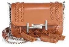 Tod's Double T Mini Tassel Whipstitched Leather Chain Crossbody Bag