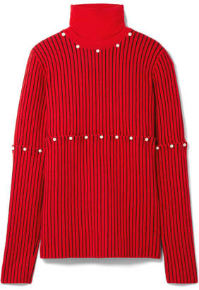 Convertible Faux Pearl-embellished Wool-jacquard Turtleneck Sweater - Red