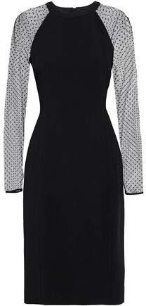 Point D'esprit-Paneled Crepe Dress