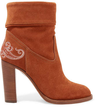 Etro Embroidered Suede Ankle Boots - Brown