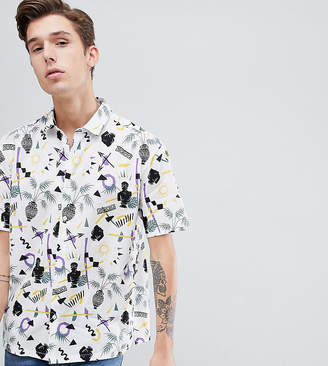 Asos Design DESIGN Tall relaxed vintage style print shirt in white