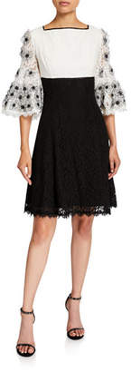 Shani Colorblock Fit-&-Flare Lace Dress with Floral Sleeve Applique