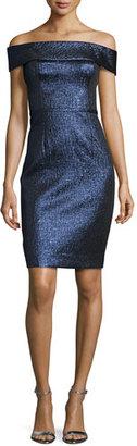 Rickie Freeman for Teri Jon Off-the-Shoulder Metallic Sheath Dress, Sapphire $380 thestylecure.com