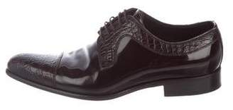 Dolce & Gabbana Crocodile-Trimmed Derby Shoes