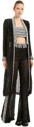 Beaded Long Silk Kimono Coat