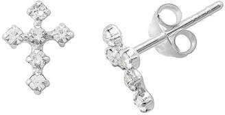 Silver Cross ITSY BITSY itsy bitsy Crystal Sterling Earrings