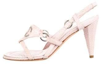 Chanel Studded CC Snakeskin Sandals