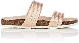 Barneys New York Women's Double-Band Metallic Leather Slide Sandals - Gold