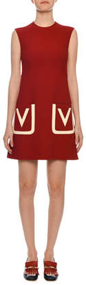 Valentino Sleeveless V-Logo Pocket Crepe Wool A-Line Dress