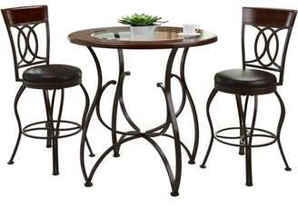 CorLiving Jericho 3-Piece Counter Height Matte Brown Barstool and Bistro Table Set