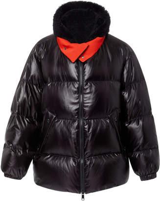 Yves Salomon Paris Lamb-Hood Shell Puffer Coat
