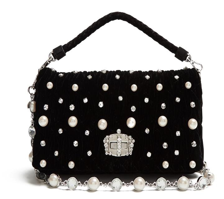 Miu MiuMIU MIU Faux-pearl embellished velvet shoulder bag