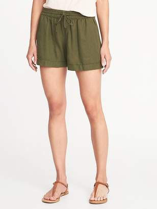 "Old Navy Mid-Rise Pull-On Linen-Blend Shorts for Women (4"")"