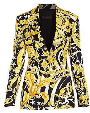 Versace Women's Savage Baroque Silk One-Button Blazer