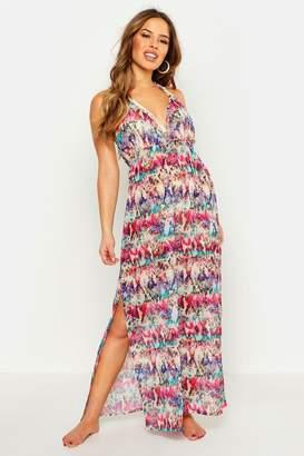 boohoo Petite Rainbow Snake Maxi Beach Dress