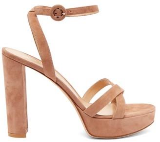 Gianvito Rossi Poppy 85 Suede Platform Sandals - Womens - Nude