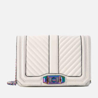Rebecca Minkoff Women's Chevron Quilted Small Love Cross Body Bag - Bianco